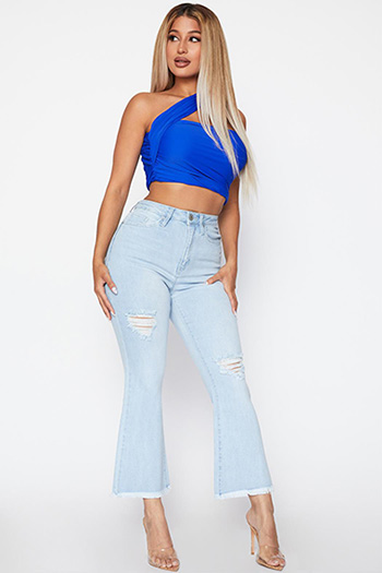 Junior High-Rise Flare Ankle Flood Jean With Frayed Edge