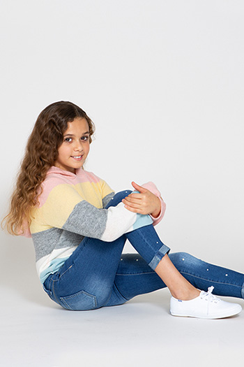 Kids 2-Button Rolled Cuff Skinny Jean with Pearl Studs