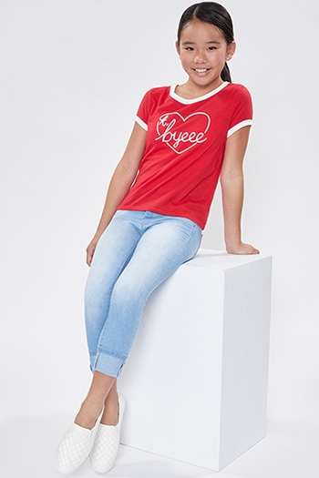 Girls 2 Button Skinny Jean With Optional Cuff