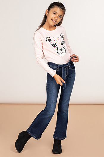 Girls Flare Jean With Matching Tie