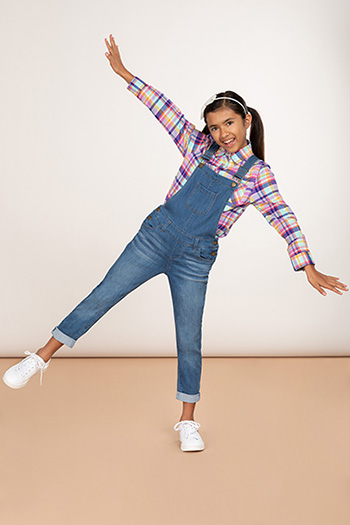 Girls Button-Down Double Rolled Cuff Overalls