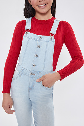 Girls Button Down Cuffed Skinny Overall