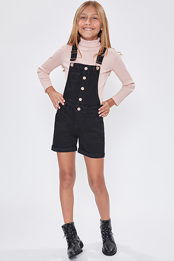 Girls Cuffed Shortalls With Button-Down Front