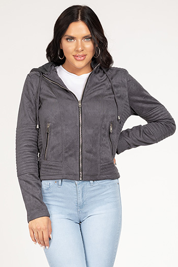 Junior Faux Suede Jacket with Detachable Hoodie