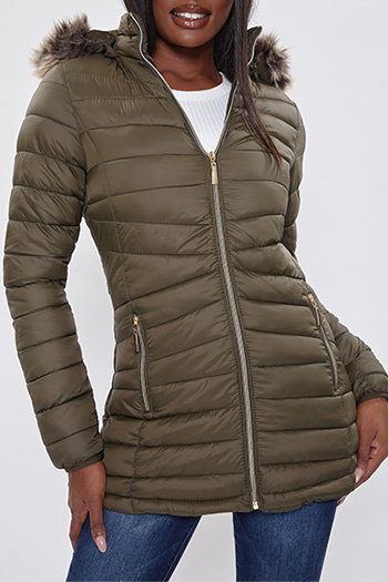 Junior Nylon Jacket With Faux Fur-Trimmed Hood