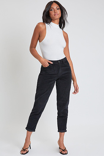 Junior Corduroy 1 Button High Rise Mom Fit Pant