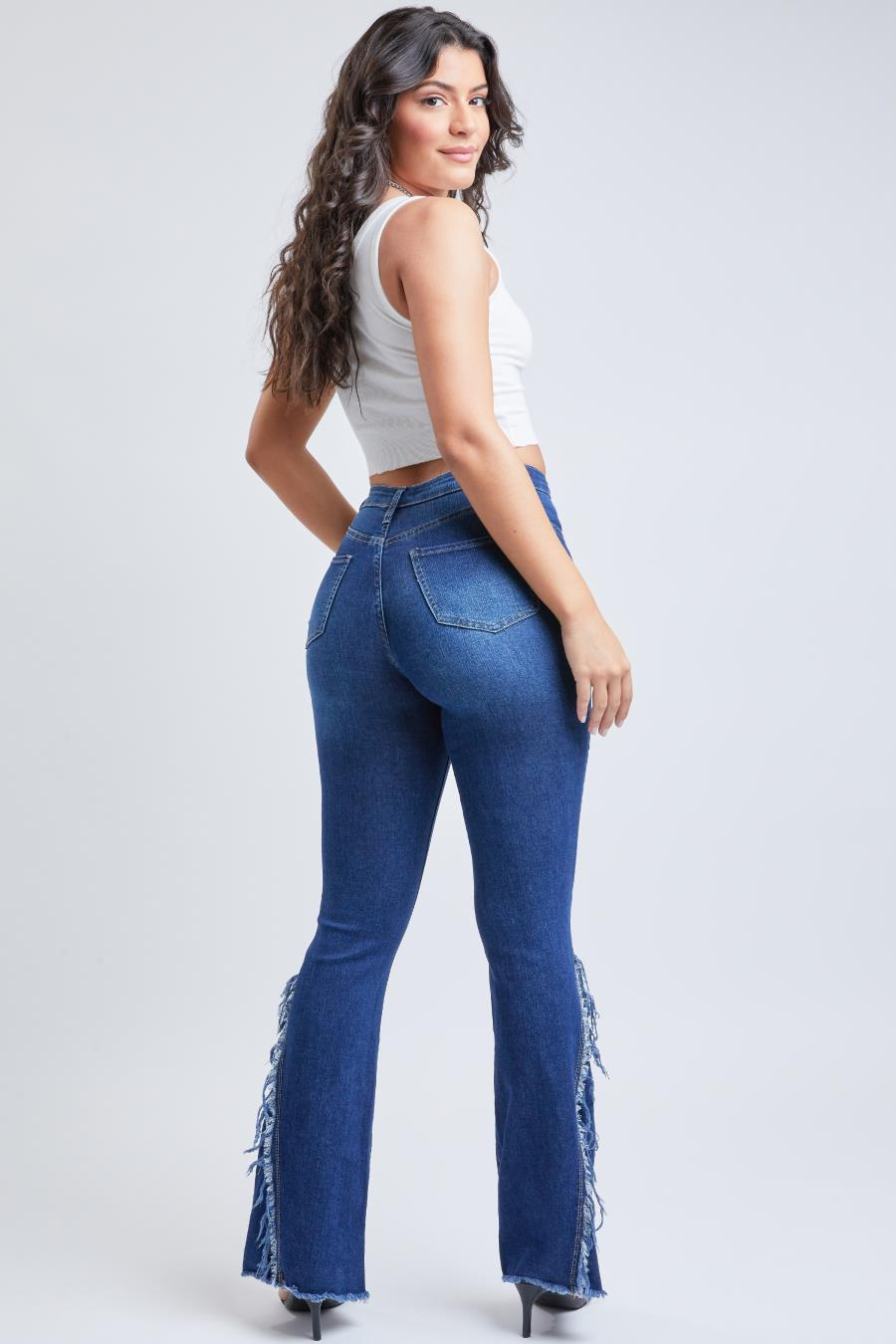 Junior High-Rise Fray Side Panel Flare Jean Made With Recycled Fiber