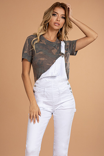 Junior Mid-Rise Denim Overall Ankle Jean