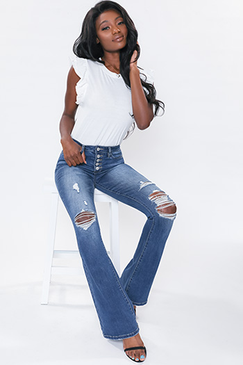 Junior Denim Collection High-Rise Flare With Exposed Buttons