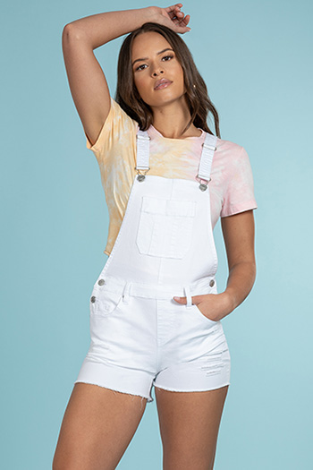 Junior Easy Fit Overall Shorts With Frayed Hem
