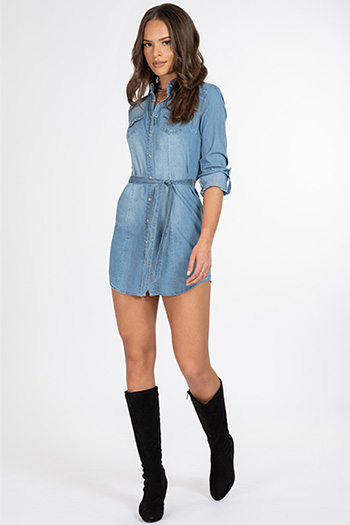 Junior Belted Chambray Tunic Dress