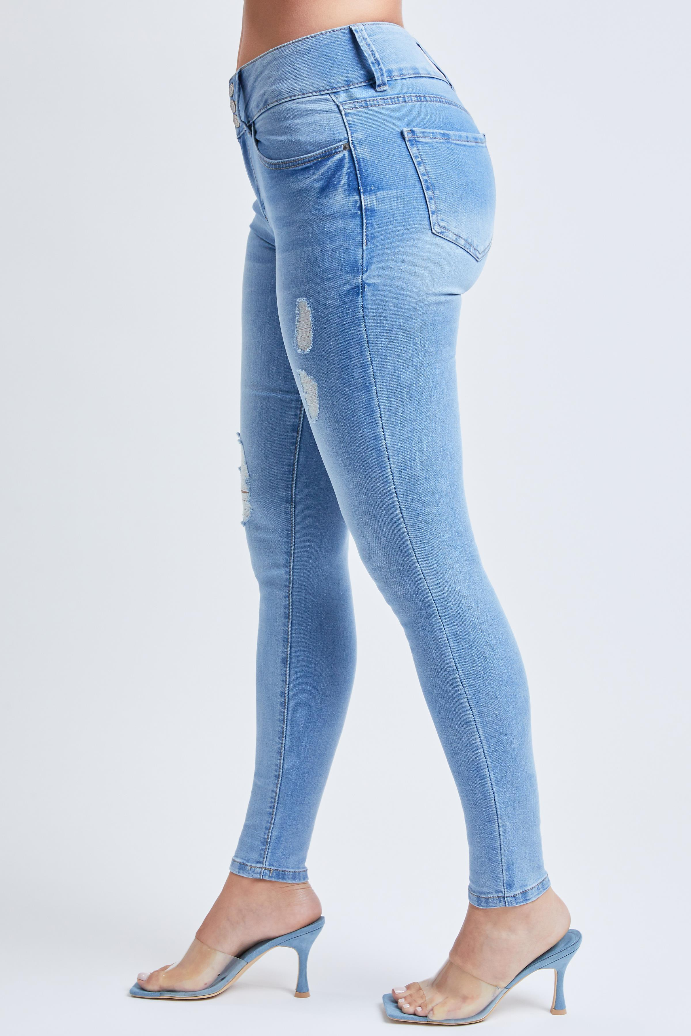Junior 3 Button High-Rise Skinny Jeans