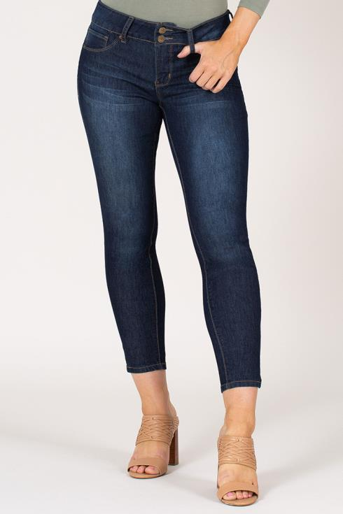 Women 2-Button Ankle Jean with Side Slit Hem