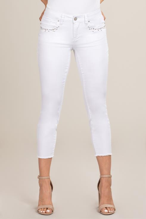 Women Petite Ankle Jean with Frayed Hem