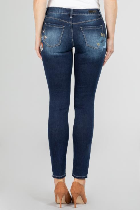 Women Floral Embroidery Skinny Jean