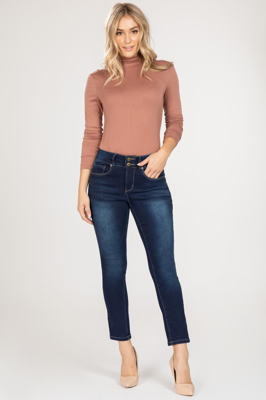 Women Hide Your Muffin Top 2-Button High-Rise Ankle Jean
