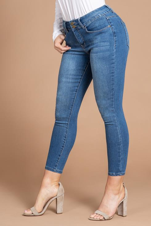 Women 2-Button Hide Your Muffin Top High-Rise Ankle Jean