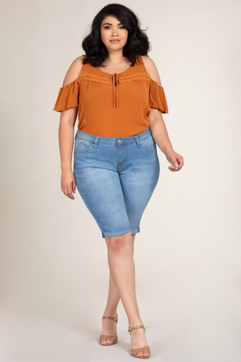 Women Plus Size WannaBettaButt Double Rolled Bermuda
