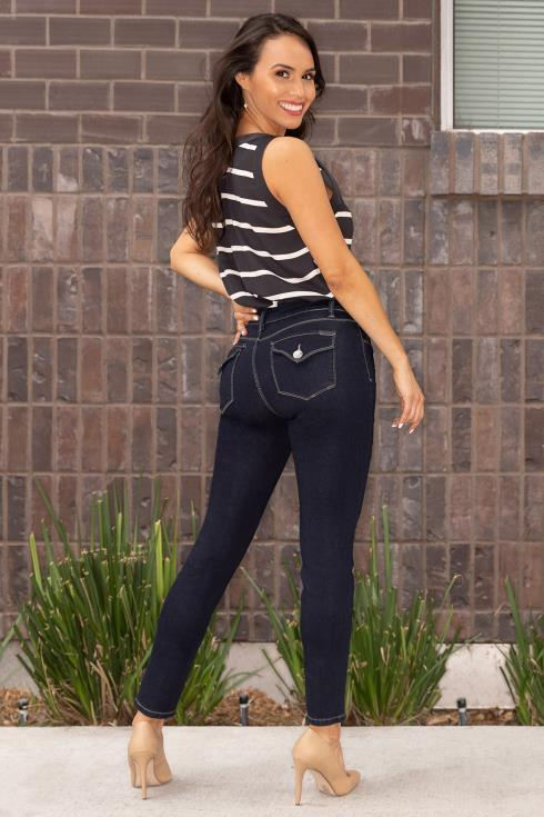 Women Petite Modern 2-Button Mid-Rise Skinny Jean with Flap Back Pockets