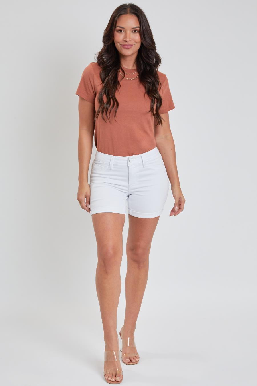 Women Petite Mid-Rise Rolled Cuffed Shorts