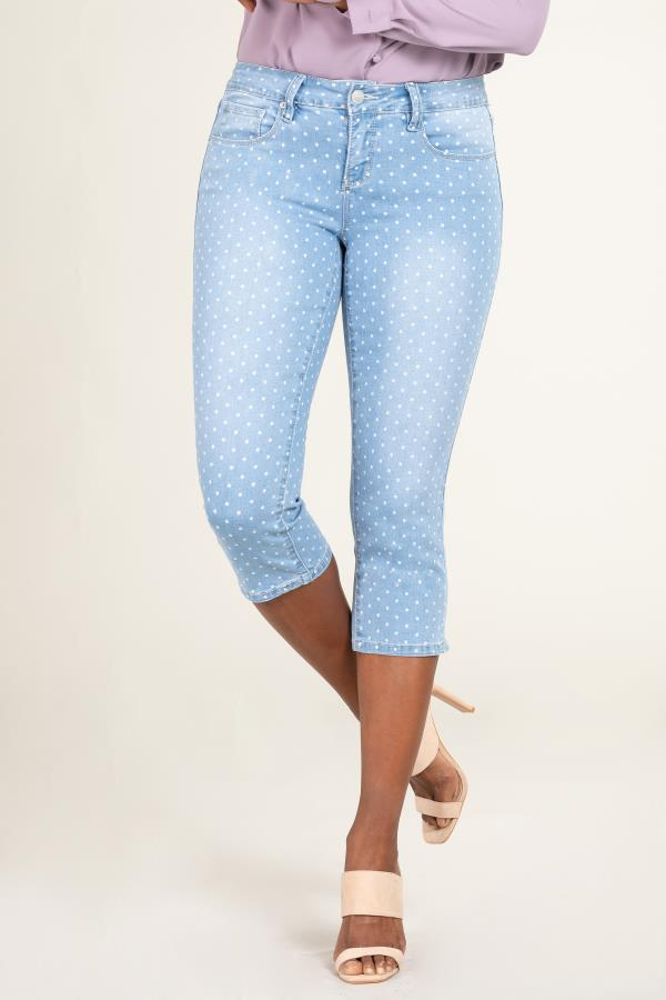 Women Mid-Rise Polka Dot Denim Capri with Side Slits