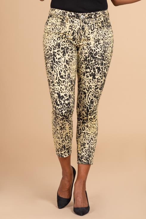 Women Mid-Rise Animal Print Ankle Jean