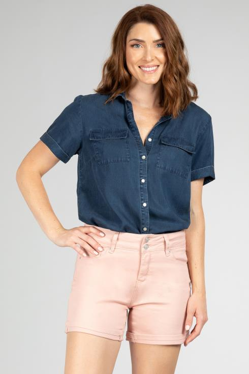 Women Hide Your Muffin Top 2-Button High-Rise Cuffed Shorts