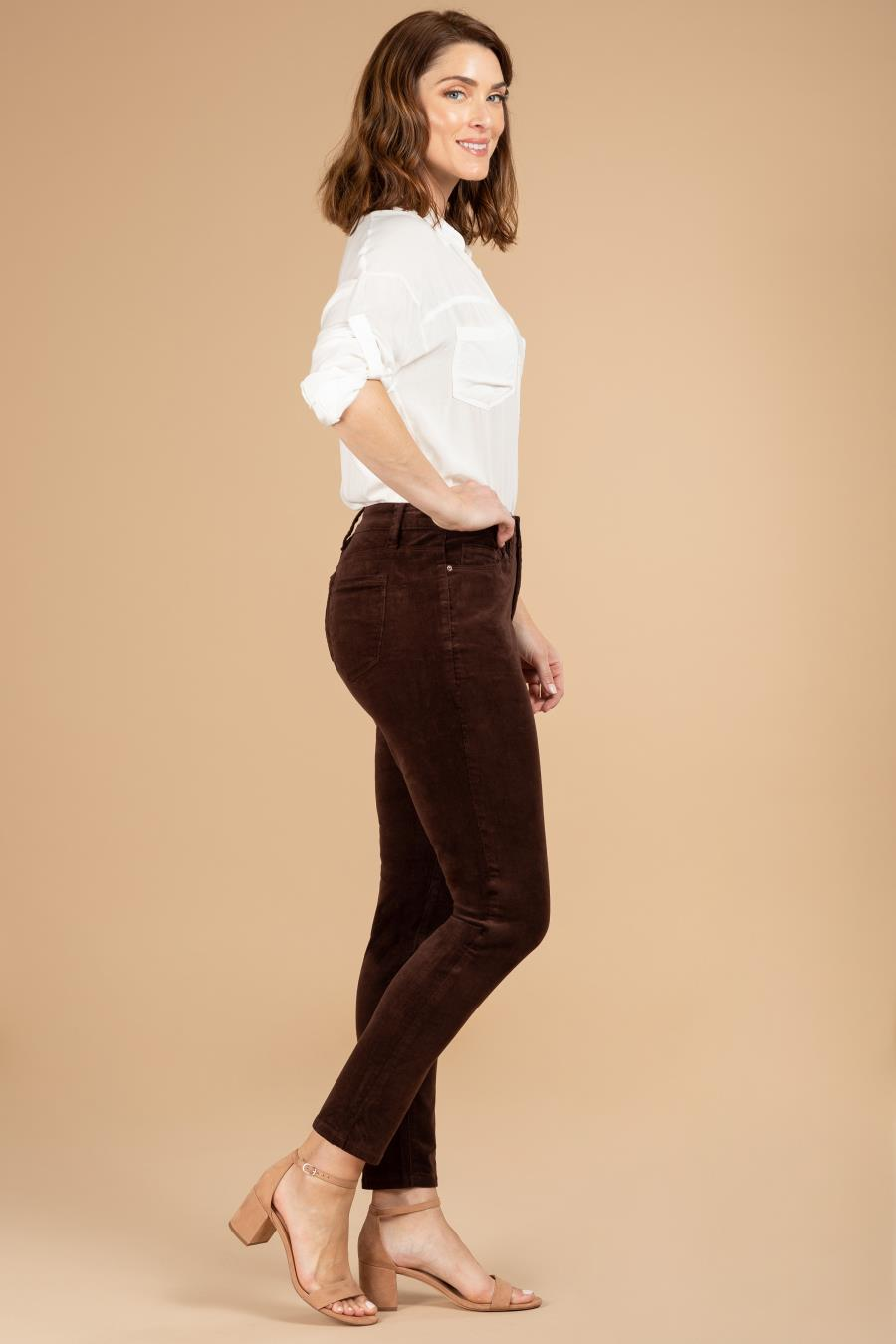 Women Hide Your Muffin Top High-Rise Corduroy Skinny Pant
