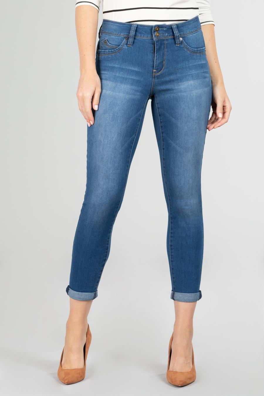 Women WannaBettaButt 2-Button Cuffed Denim Ankle Jean