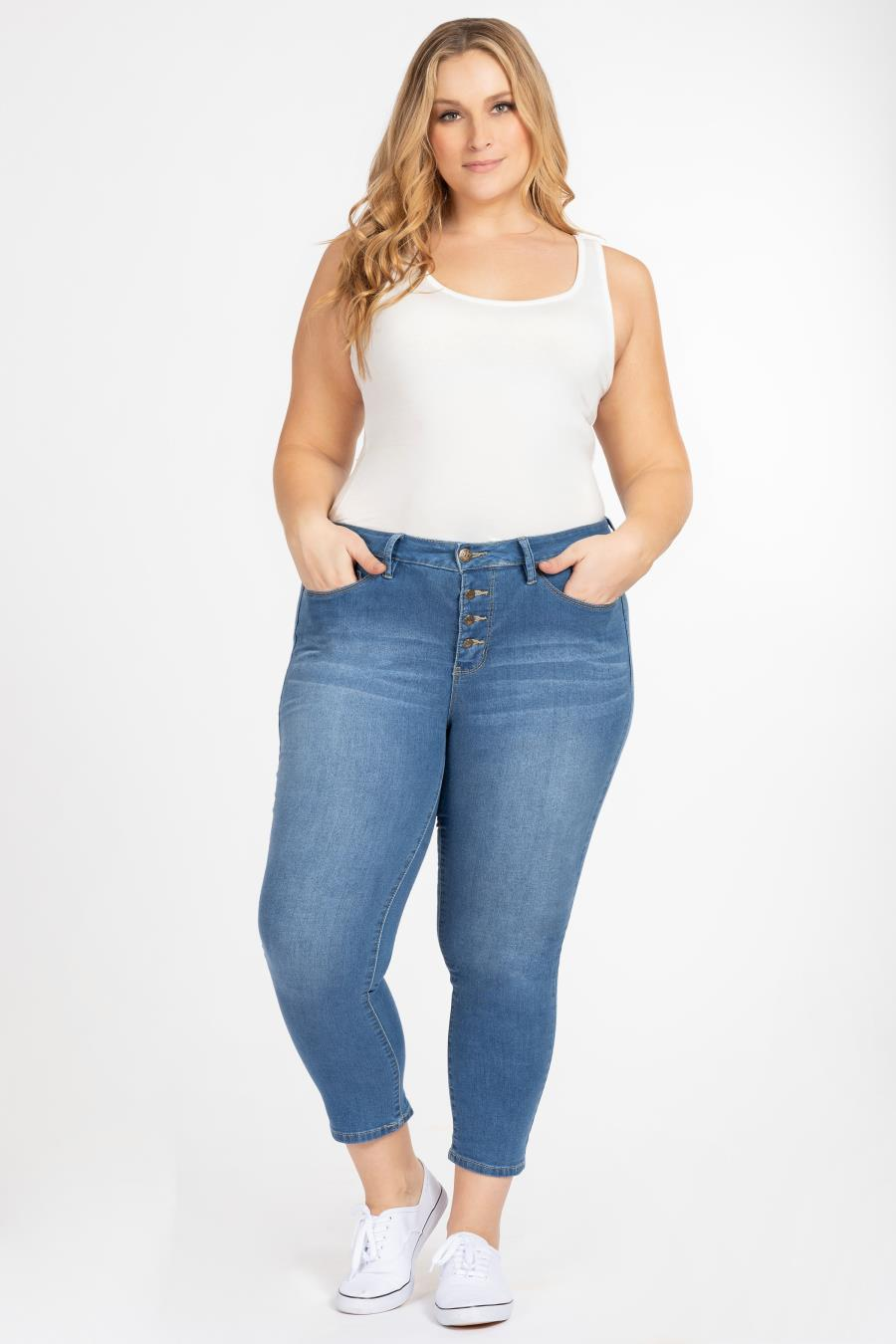 Women Plus Size Hide Your Muffin Top Button-Fly Denim Jean