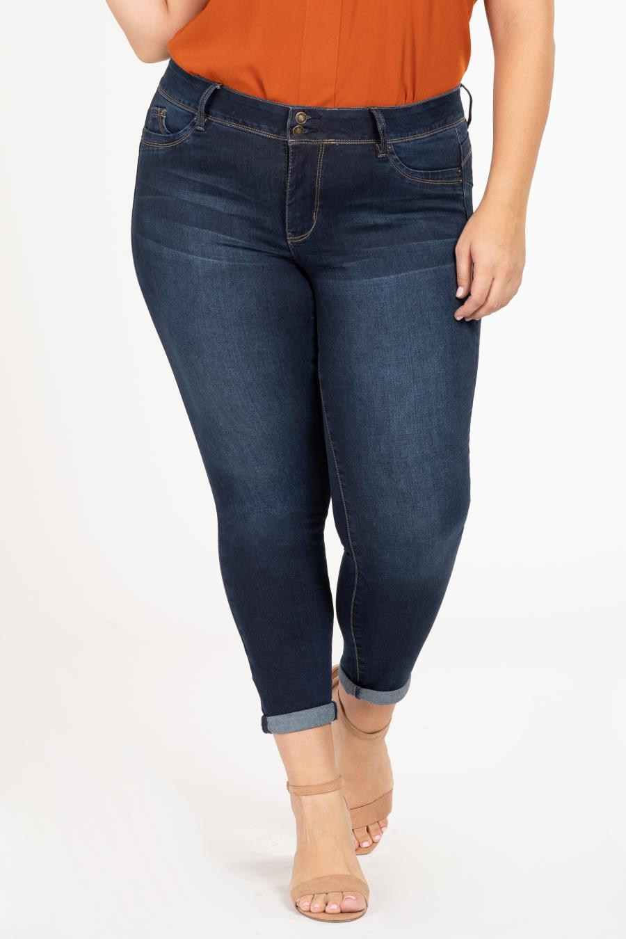 Women Plus Size WannaBettaButt 2-Button Cuffed Denim Jeans
