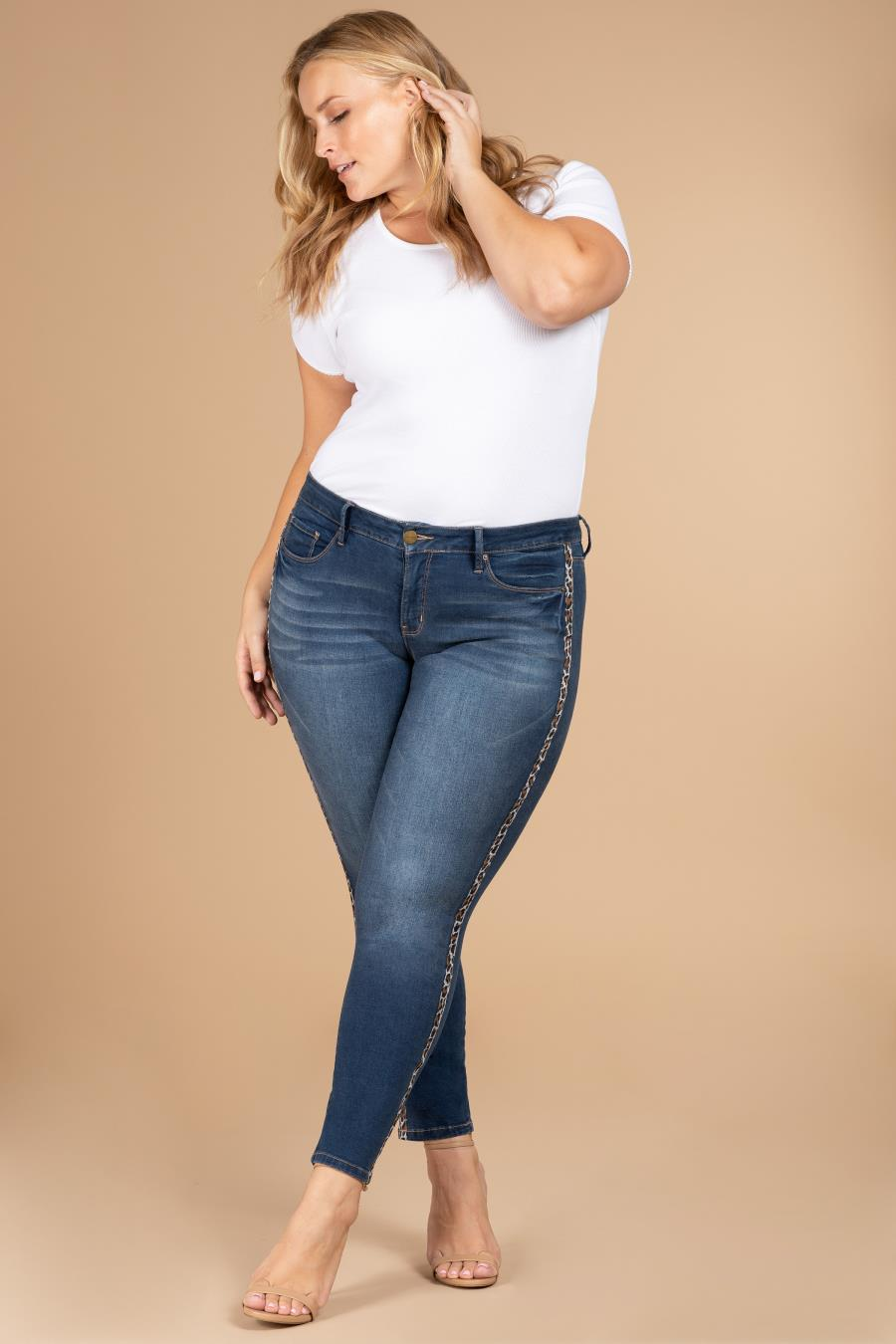 Women Plus Size Denim Skinny Jean with Animal Side Stripe