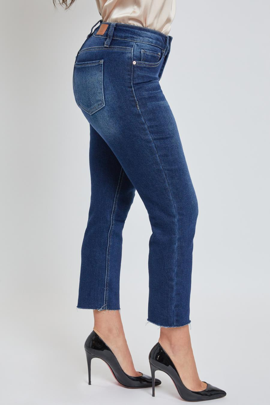 Women Petite High-Rise Jean With Unfinished Hem