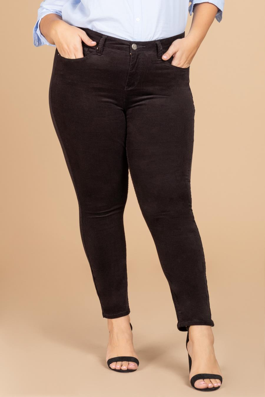 Women Plus Size Hide Your Muffin Top High-Rise Corduroy Skinny Pant
