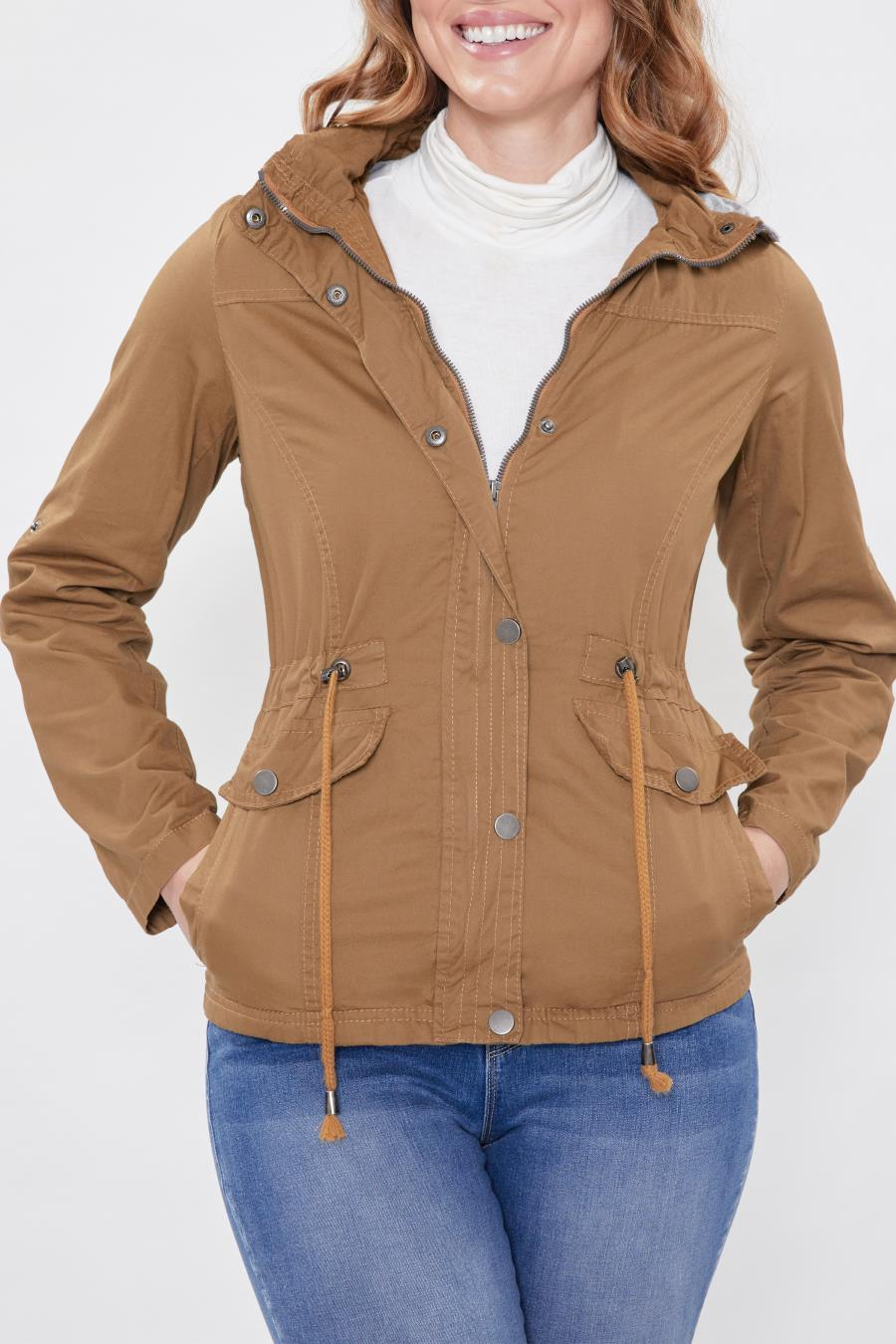 Women Petite Back To Basics Cotton Twill Jacket With Detachable Hood