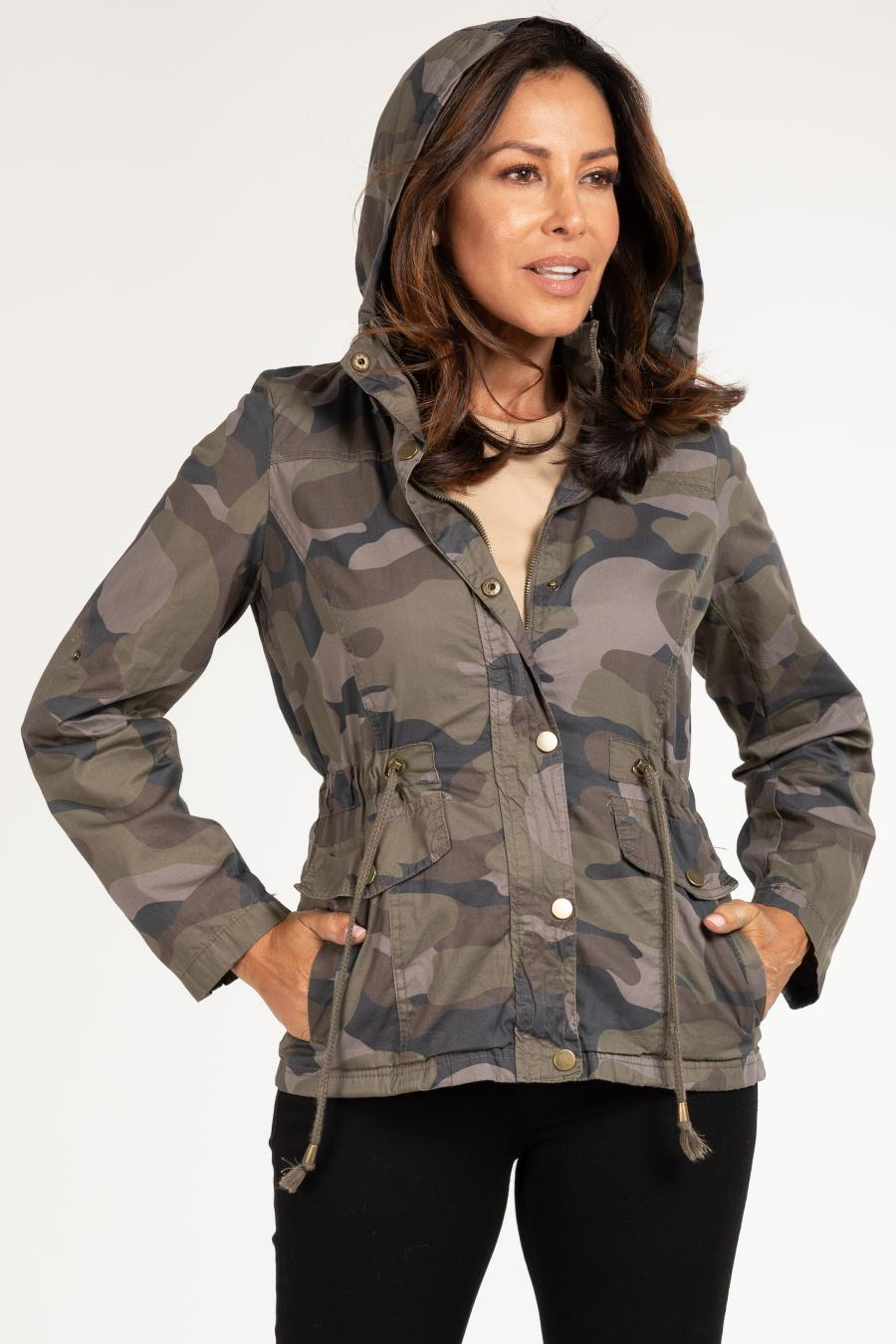 Women Cotton Twill Jacket With Detachable Hood