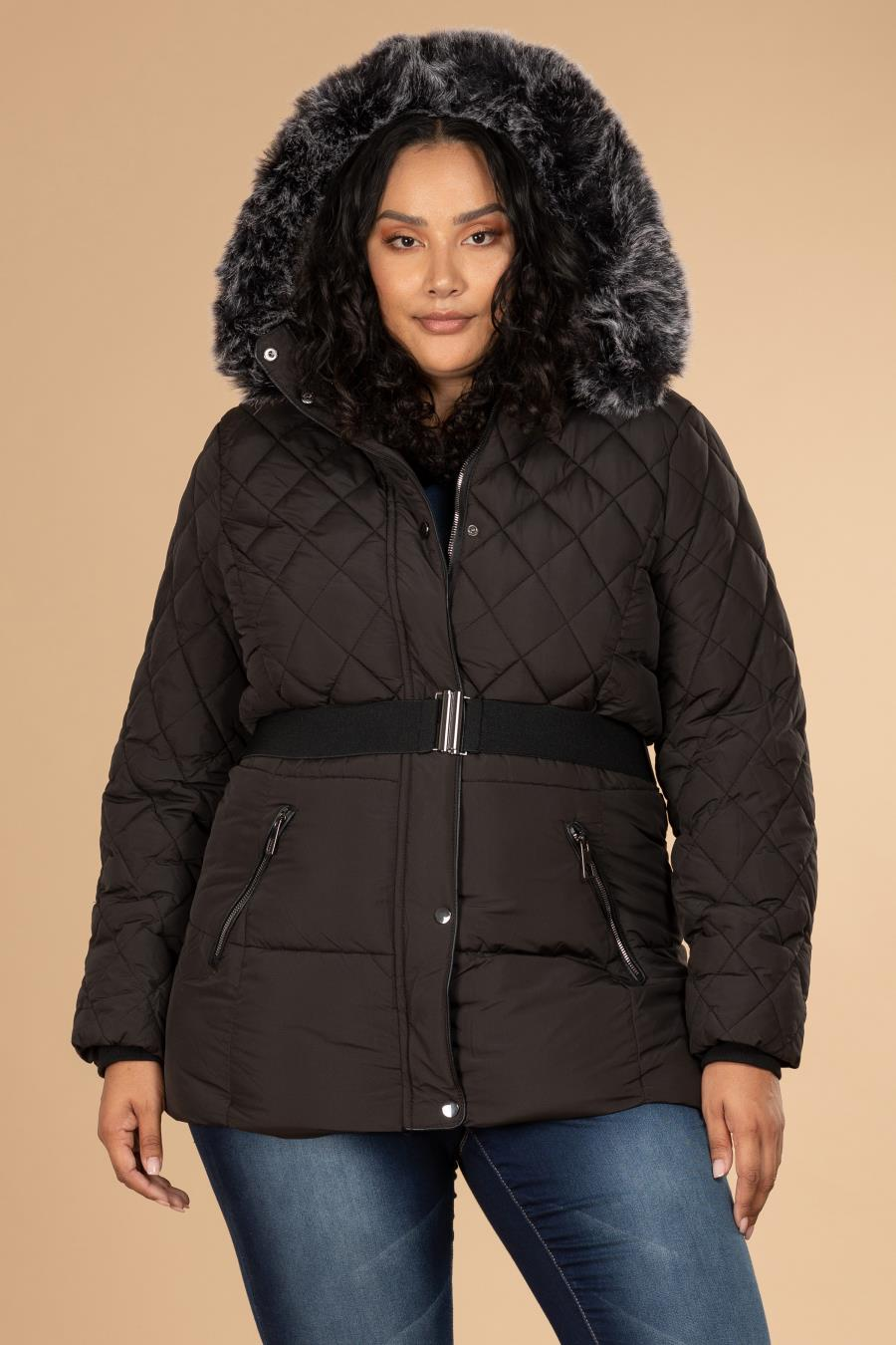 Women Plus Parka Puffer With Detachable Faux Fur-Trimmed Hood