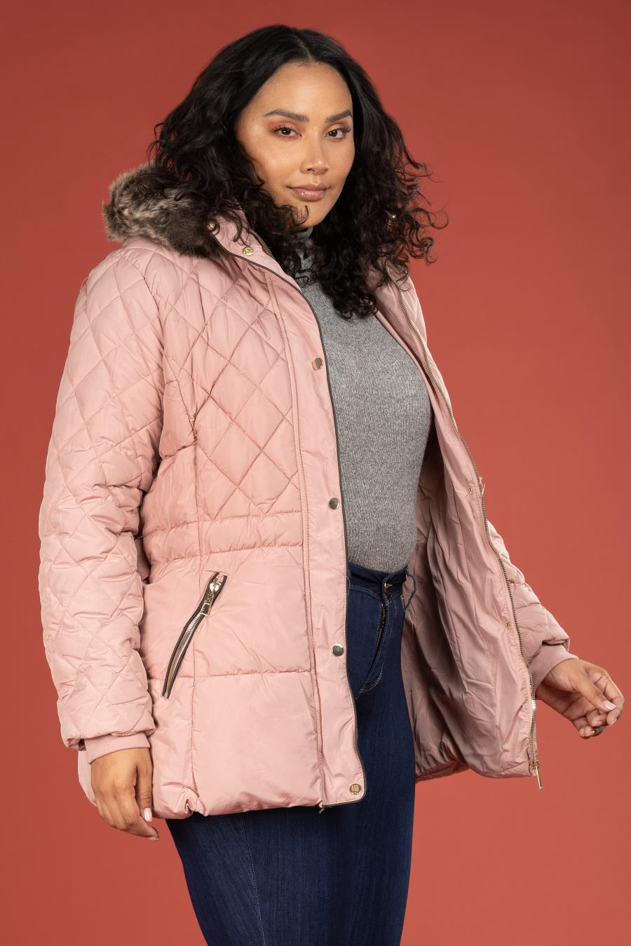 Women Plus Size Parka Puffer With Detachable Faux Fur-Trimmed Hood