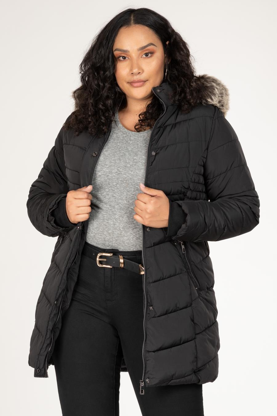 Women Plus Parka Puffer With Faux Fur-Trimmed Detachable Hood