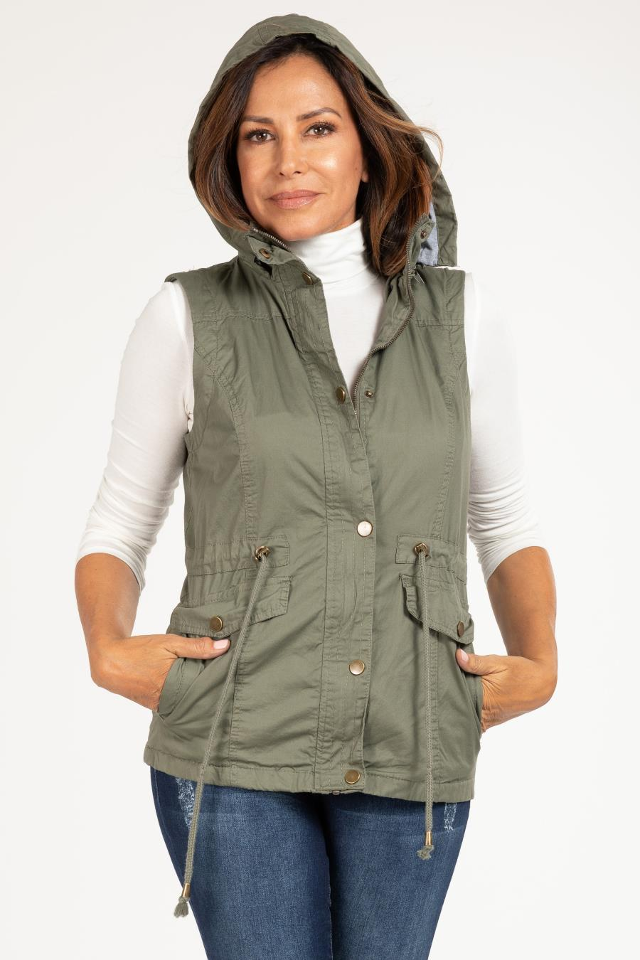Women Cotton Vest With Detachable Hood