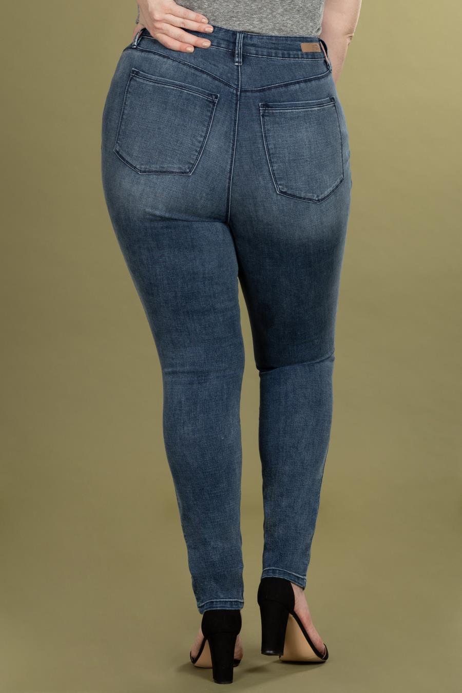 Women Plus Size Hide Your Muffin Top High-Rise Denim Skinny Jean