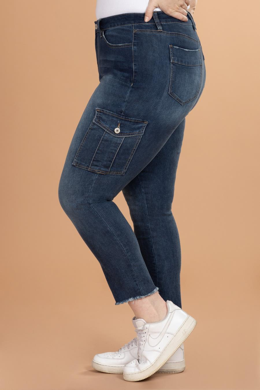 Women Plus Size Fashion First Mid-Rise Ankle Cargo Pant With Frayed Hem