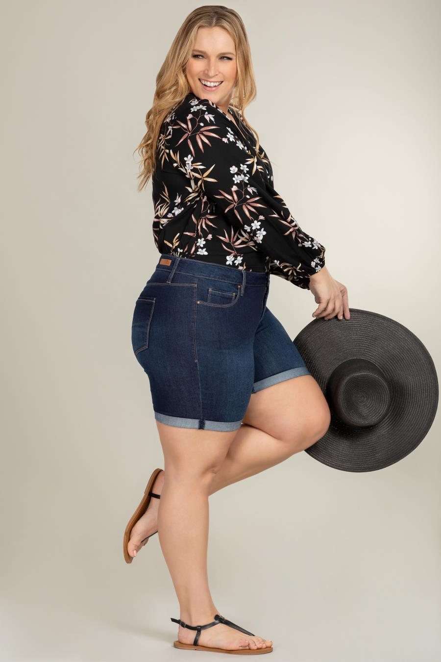 Women Plus Size Hide Your Muffin Top Shorts With Rolled Cuff