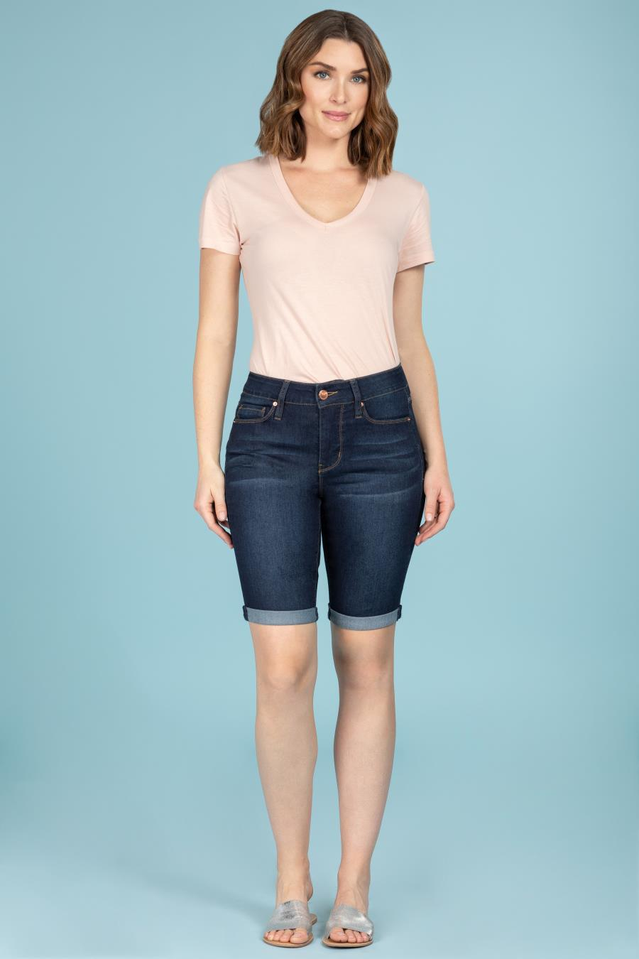 Women Hide Your Muffin Top Rolled Cuff Bermuda Shorts
