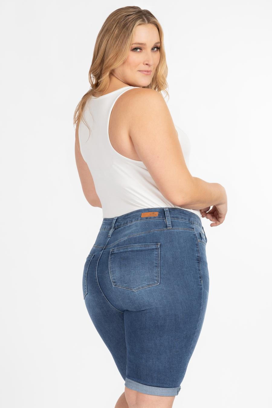 Women Plus Size Hide Your Muffin Top Bermuda Short With Rolled Cuff
