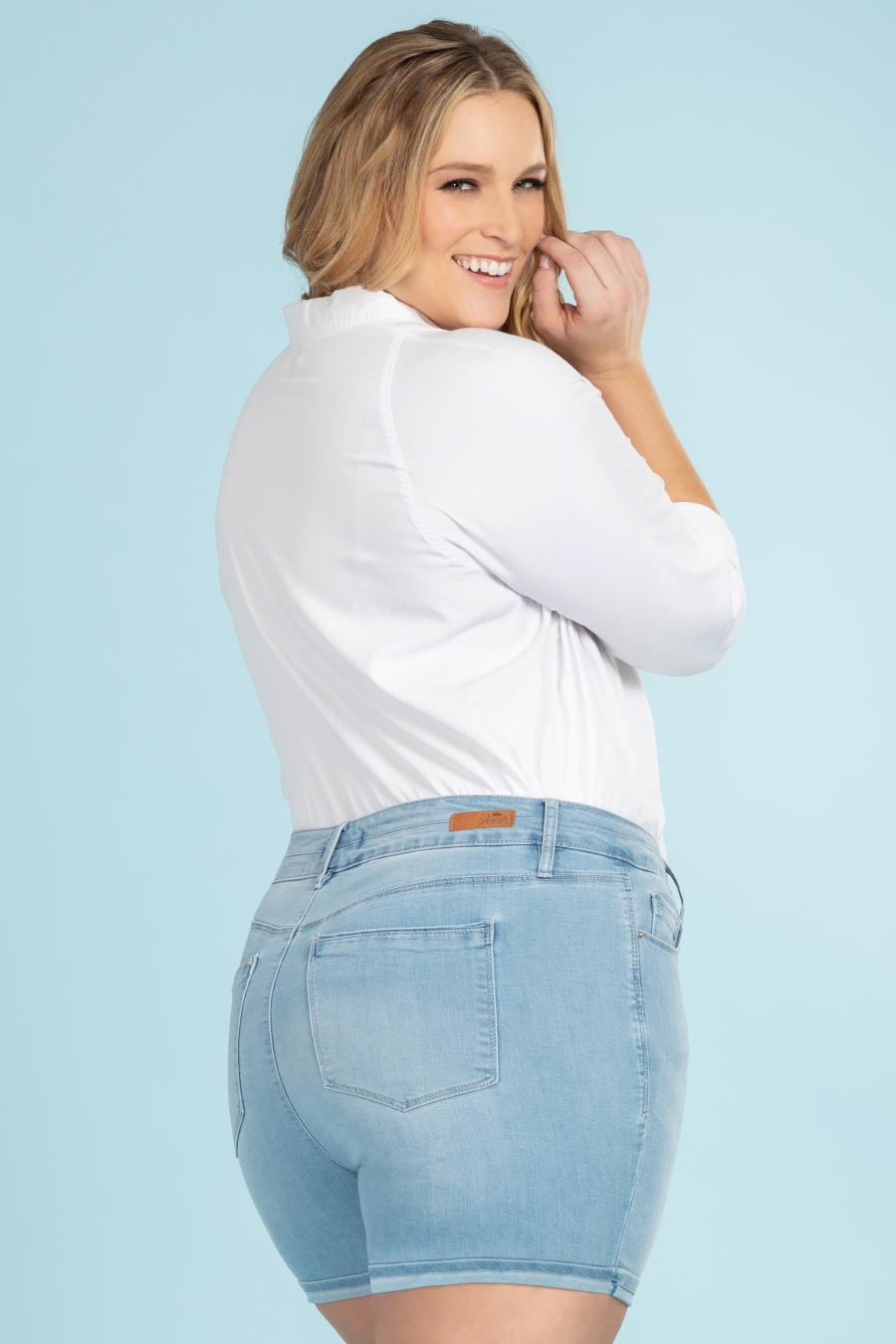 Women Plus Size Hide Your Muffin Top Double Button Cuffed Shorts