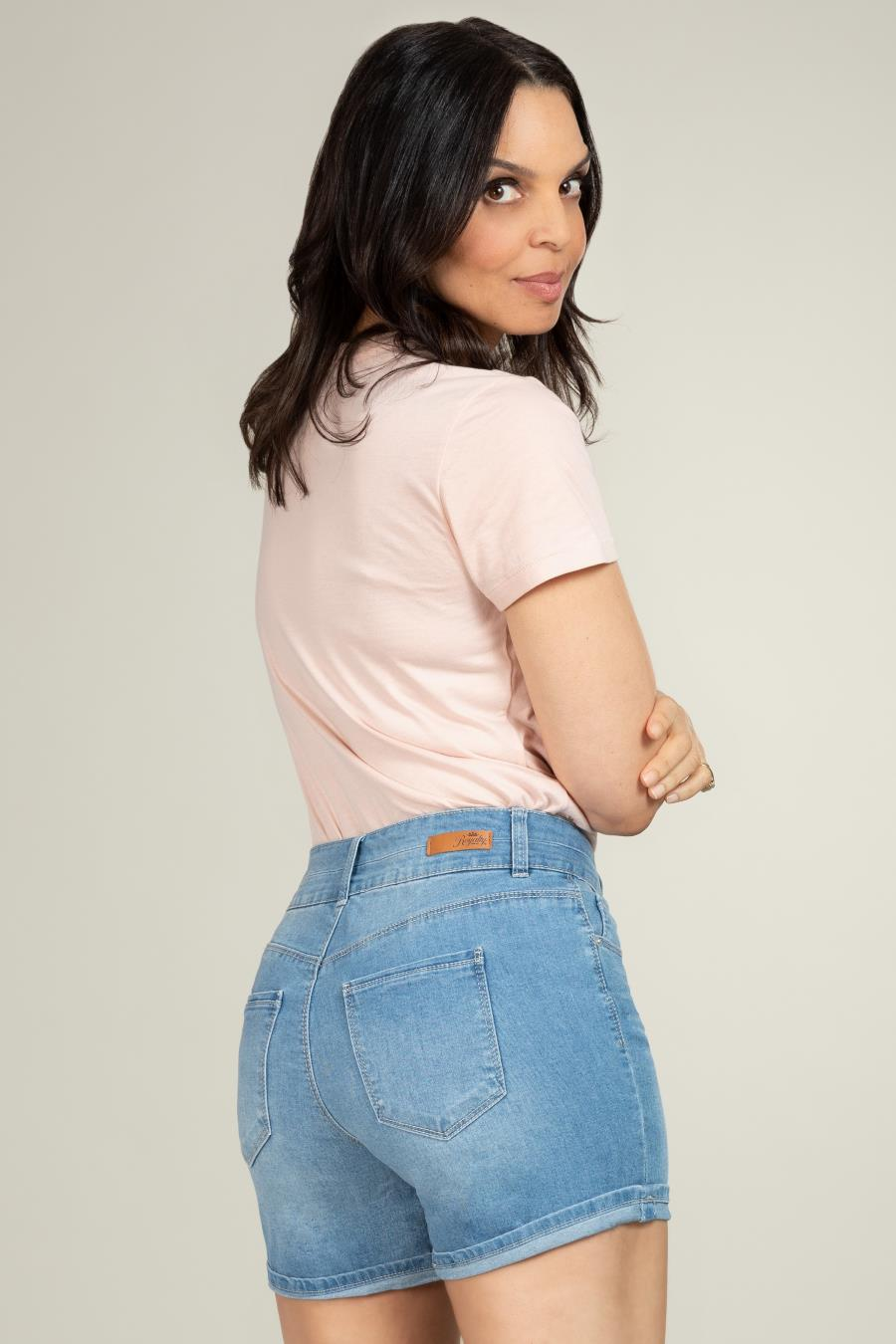 Women Petite Hide Your Muffin Top 2-Button Stacked Cuffed Shorts