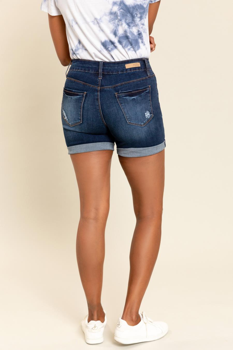 Women Hide Your Muffin Top Stacked Rolled Cuff Shorts