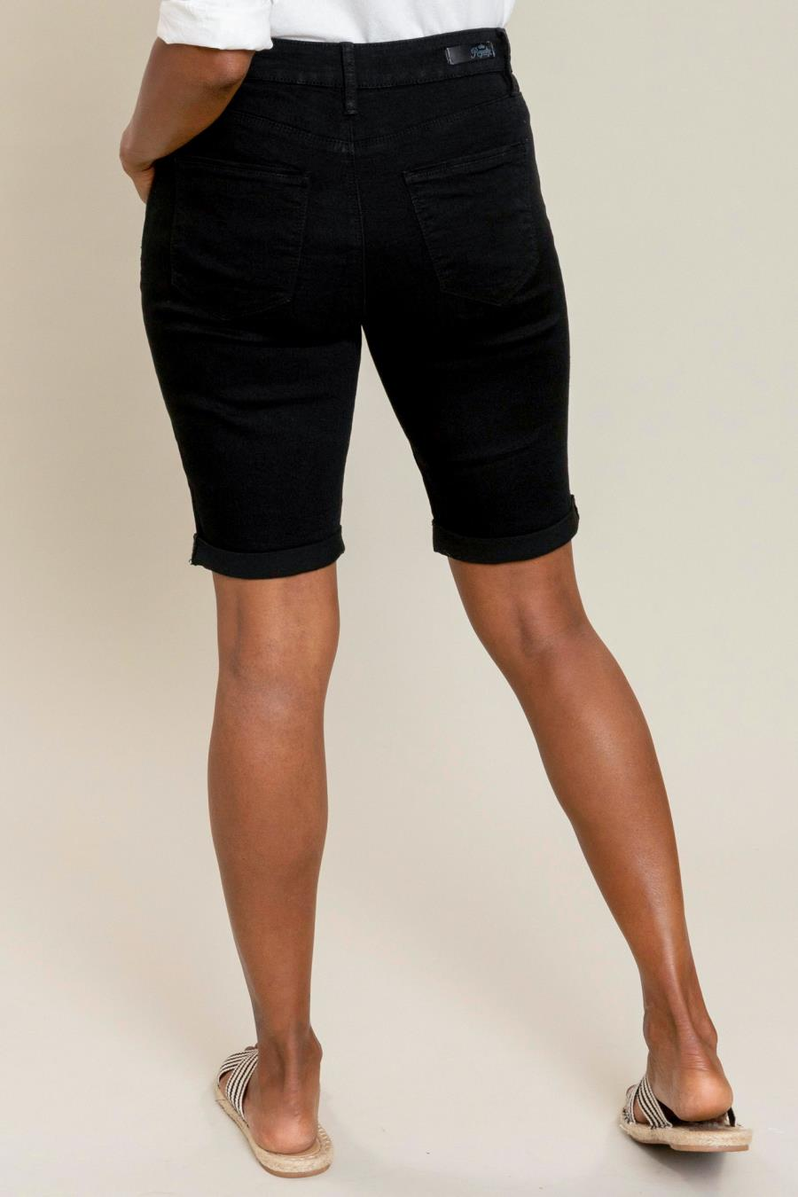 Women Hide Your Muffin Top Single Button Rolled Cuff Bermuda Short