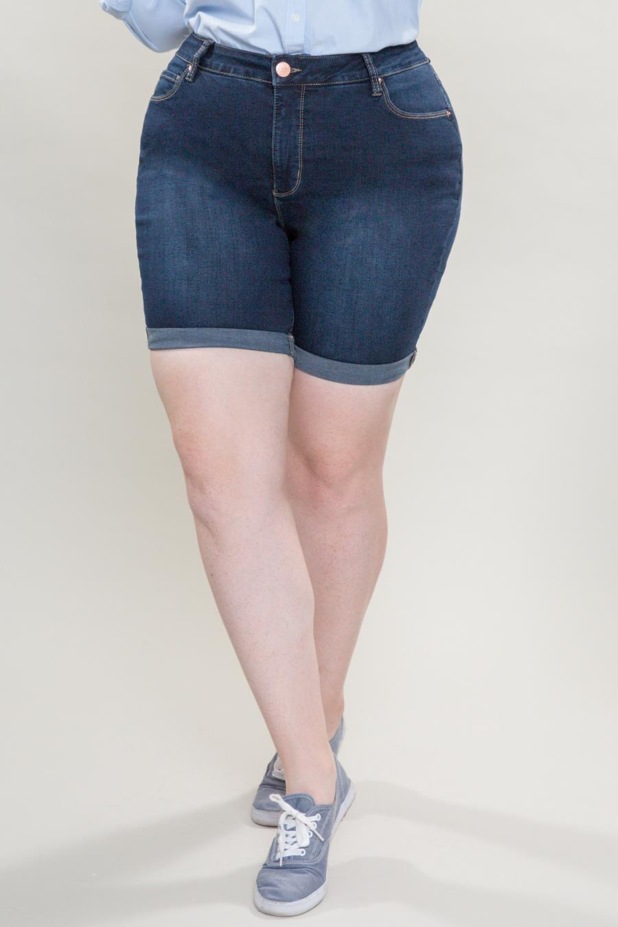 Women Plus Size Hide Your Muffin Top Rolled Cuff Shorts